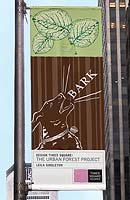 Leila Singleton's Bark banner hanging in New York City
