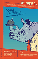 Poster for the UC Berkeley TDPS production of Rhinoceros, by Leila Singleton